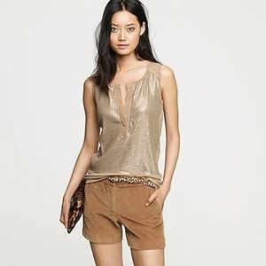 NEW! J. Crew Sequin Henley Shell Size XS Tan C